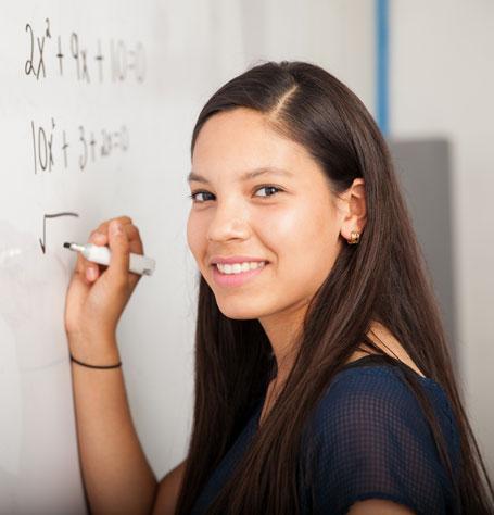 girl learning mathematics